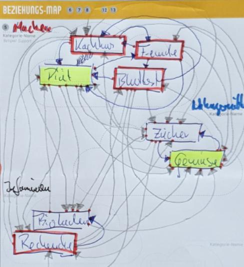 Beispiel-Kübernetik mti rot umrahmten Einfluss-Größen