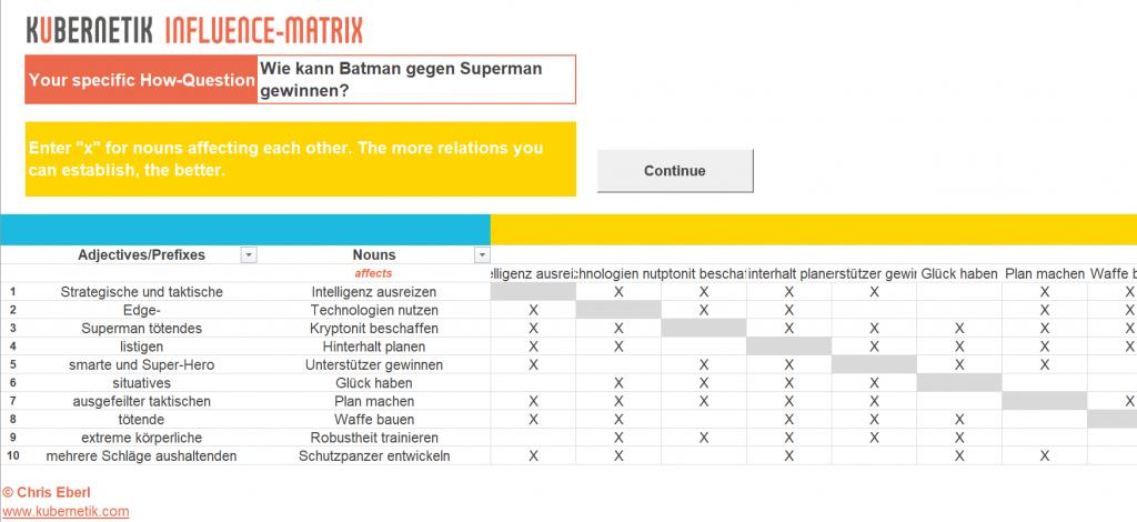 Ausschnitt der Beziehungs-Map aus dem Kübernetik-Excel zu der Frage, wie Batman gegen Superman gewinnen kann